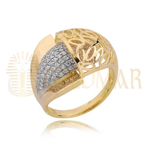 6e6f7ff5d31d29 Złoty pierścionek z cyrkoniami z żółtego złota próby 585